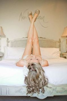 boudoir photo...for his eyes only before the walk down the aisle ;) lots of cute pic ideas