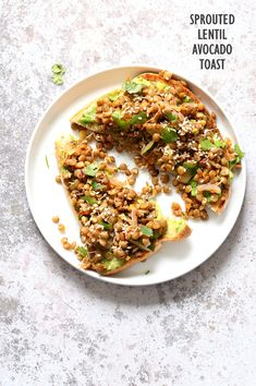 Ginger Coriander Sprouted Lentils Avocado Toast 16 Gm Protein. Sprout Lentils or Mung Beans, cook lightly & serve w/ Mashed Avocado Toast or Wrap. Vegan Nutfree Soy-free Recipe. Easily Glutenfree
