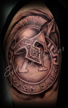 Warrior Helmet With Shield Tattoo Design