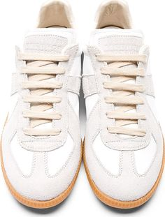 Maison Martin Margiela White Leather Suede Replica Sneakers