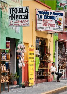 Stores selling tequila and mezcal in the town of Tequila, Jalisco, Mexico