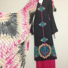 Black cotton 3 pc with embroidery