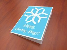 "#Hockey #Christmas Card, Hockey Holiday Card, Greeting Card, 5x7"", blank inside, with envelope, ice hockey, hockey card by Dialectees on #Etsy"
