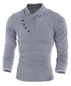 2016 New Autumn Mens Cotton Oblique Button Collar T Shirt Fashion Men Long Sleeve T Shirts Slim fit T-Shirt Solid Tee -- Continue to the product at the image link. Button Collar Shirt, Collar Shirts, T Shirt, Shirt Men, Men's Shirts, Polo Shirt, Chemise Fashion, Mode Hip Hop, Camisa Polo