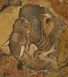 """Painting of an Elephant [a very cute, smiling elephant!], Ajanta Caves"" -- Read about and see photos of the Ajanta Caves in India, a UNESCO World Heritage Centre site, here: http://whc.unesco.org/en/list/242"