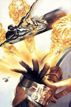 Galactus vs Silver Surfer by Alex Ross