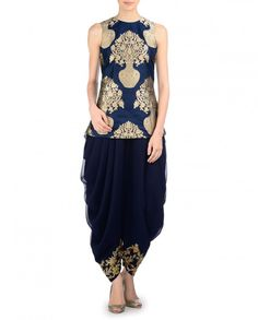 SVA BY SONAM & PARAS MODI Navy Top and Dhoti Pants with Floral Embellishment