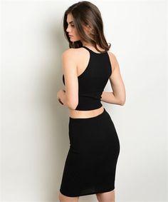 "Black 2 piece set! Fabric Content: 96% Polyester, 4% Spandex Description: TOP: L: 15"" B: 26"" W: 26"" SKIRT: L: 22"" W: 24"" Jean Overalls, Black Tops, Product Description, Two Piece Skirt Set, Spandex, Content, Skirts, Fabric, Clothes"