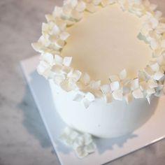 순백의 수국을 만들기 위해서는 공정이 추가됩니다. _ 버터를 직접 만들어 크림을 만듭니다. _ 수분이 많아서 파이핑이 굉장히 어려워지지만 꽃 하나하나 정성을 더해  만들어냅니다.  _ 케이크는 맛도 모습도 아름다워야 합니다. 만드는 사람의 마음도 케이크에 드리워집니다. 대충해서는 어느 것도 전해지지 않습니다. _  아름답고 제대로된 버터크림 케이크를 만들기  위한 마음가짐 ✨ #바닐라클라우드 #vanillacloud #buttrecreamcake#flowercake