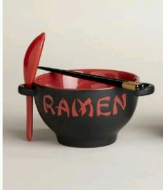 Ramen Noodle Bowl Chopsticks Red Stoneware Microwave Safe New nib