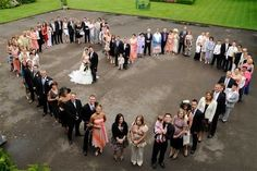 All the guests in the shape of a heart.