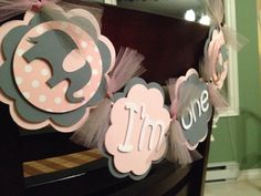First Birthday Highchair Banner Photo Prop I am 1 polkadot elephant high chair banner pink and gray birthday banner girl on Etsy, $12.00