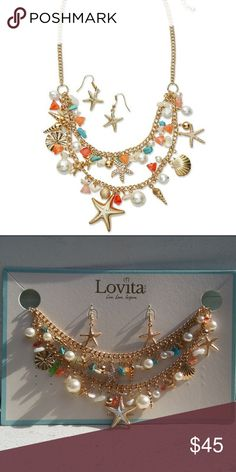 "Starfish Set Necklace and Earrings Statement Starfish and Earrings set Perfect Christmas present L:19 1/2 with 3 "" extension Dangle earrings First picture from Lovita Lovita Jewelry Necklaces"