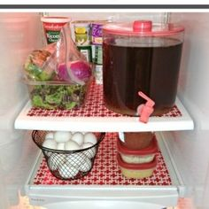 Line your refrigerator shelves with simple plastic placemats. When you need to clean your fridge, just take the mats out to clean. No more reaching into the nooks and crannies of your fridge!