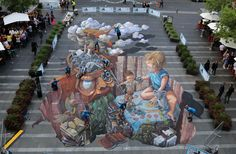 This incredible 3D artwork created by Australia's most highly awarded pavement artist, Jenny McCracken and internet sensation Leon Keer from the Netherlands.
