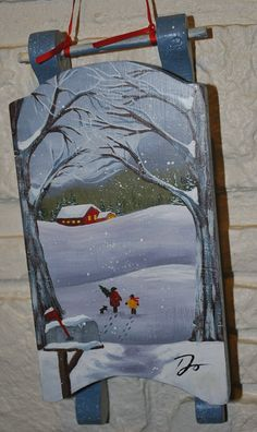 Christmas Sled Wood Hand Painted Up North Decor Over the River and Through the Woods