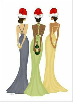 Holiday Toast Greeting Card - toast to a fabulous Holiday with this chic design featuring an illustration of three glamourous ladies in their holiday-bests with champagne enclosed in a metallic gold envelope for added glam. Black Christmas Decorations, Christmas Pictures, Christmas Art, Christmas Greetings, Christmas And New Year, All Things Christmas, Vintage Christmas, Christmas Girls, Xmas