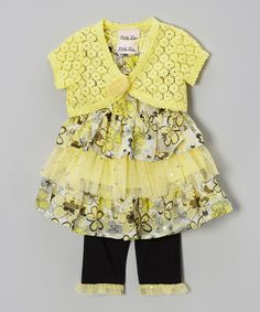 Yellow Floral Sequin Tunic Set - Infant by Little Lass #zulily #zulilyfinds