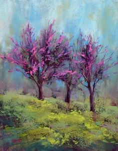Redbud Trees Spring Painting on the Lilac in Bloom Board