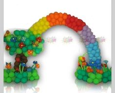 Balloon Arch with tree and rainbow.  #balloon arch #balloon-arch #balloon decor #balloon-decor