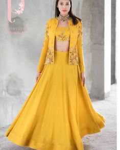 Shop Prathyusha Garimella Mustard satin cotton sequin & zari work lehenga with crop top & jacket , Exclusive Indian Designer Latest Collections Available at Aza Fashions Outfit Designer, Indian Designer Outfits, Designer Dresses, Lehenga Choli Designs, Indian Wedding Outfits, Indian Outfits, Crop Top Jacket, Cape Jacket, Jacket Pins