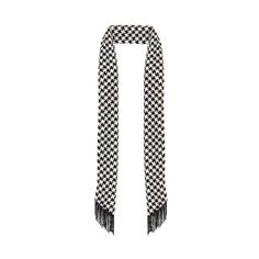 Ladies Black and White Houndstooth Skinny Scarf with Fringe.
