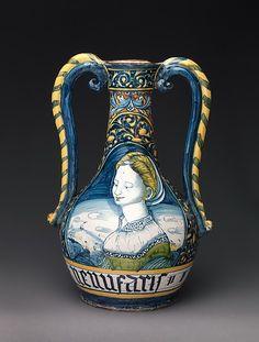 Workshop of Pompei ~ Drug vase (one of a pair) ~ Italian, Castelli ~ ca.1530 ~ The Metropolitan Museum of Art