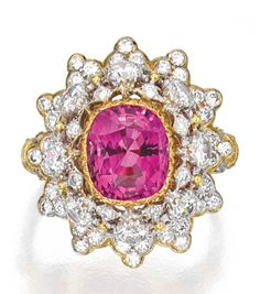 18 KARAT TWO-COLOR GOLD, PINK SAPPHIRE AND DIAMOND RING, BUCCELLATI