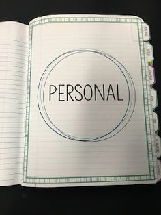 "This post in the series will cover the first section of our notebook: personal.  This is one of the nine tabs in our notebook. This section is approximately 7 pages long. The ""personal"" tab in attache"