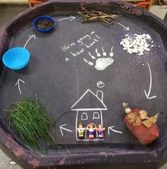 Bear hunt tough spot idea! The children loved playing and rebelling the story, also a lovely sensory activity. I used grass, a bowl of water, some mud, twigs, hamster bedding and glitter (!!) and made a cave using a loo roll and newspaper. The writing was just chalk straight onto the tray :)