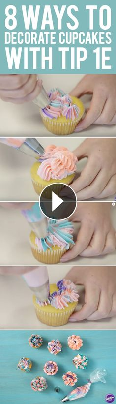 Learn eight new ways to decorate cupcakes with Wilton decorating tip! Commonly used to create drop flowers, the large decorating tip can also be used to make amazing shells, stars and more to make your cakes, cupcakes and other treats pop. Cupcake Decorating Techniques, Cake Decorating Icing, Cake Decorating For Beginners, Cake Decorating Tutorials, Cookie Decorating, Kid Cupcakes, Baking Cupcakes, Cupcake Cakes, Decorate Cupcakes