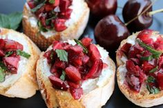 Cherry and Mint Bruschetta with Goat Cheese | 20 Cherry Recipes