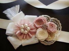 Cherry Blossom Ivory Rose Corsage Sash Bride Bridal Silk Bud Headband Wedding Shower Rehearsal Dinner Jewel Invitation Flower Pink Blush. $85.00, via Etsy.
