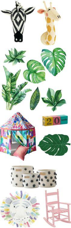 Tropical themed nursery. Tropical playroom. Palm tree nursery. Cute Playroom Ideas. Colourful kids decor. Palm tree wall decals. Palm frond rug. Colourful kids teepee.