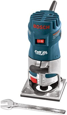 The Bosch PR10E Colt Single-Speed Palm-Grip Router is a friendly woodworking tool that is one of the highest rated among small routers. The Bosch PR10E is best for laminate trimming, hinge mortising, decorative edge forming, rounding-over deck planks and railings, slot cutting, window cutouts, decorative inlays and more