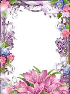 Very glittery, sparkle, pink and purple flower girlie border / frame art.