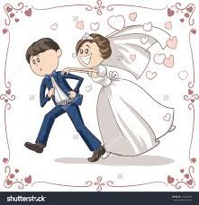 Illustration about Vector cartoon of a scared groom running away from bride and marriage. Illustration of decoration, couple, chasing - 44180819 Wedding Topper, Wedding Dj, Wedding Couples, Cute Couples, Couple Clipart, Family Illustration, Couple Drawings, Wedding Pinterest, Wedding Images