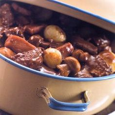 Nigel Brown's slow cooked beef bourguignon recipe is perfect for a chilly winter's day Crock Pot Recipes, Beef Recipes, Cooking Recipes, Beef Bourguignon, Atkins Recipes, Low Carb Recipes, Beef Burgundy Recipe, Steak And Mushrooms, Slow Cooked Beef