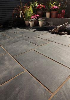 Bradstone, Natural Slate Paving Blue-Black Patio Pack - Per Pack - Premium Natural Stone - Paving Slate Paving Slabs, Limestone Paving, Slate Patio, Sandstone Paving, Patio Slabs, Paved Patio, Slate Flooring, Paving Stones, Concrete Patio