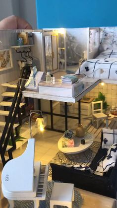 Duplex Apartment Style DIY Dollhouse - DIY Dollhouse is good for Home decoration. It looks great to show on your table, showcase or hang o - Diy Dollhouse, Dollhouse Furniture, Dollhouse Miniatures, Casas Containers, Duplex Apartment, Sims House, Miniature Houses, Miniture Things, Decoration