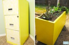 How-to: Refurbish a Filing Cabinet  a modern idea to take filing cabinets and reuse them for a different idea, like modern planters