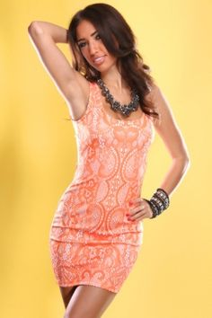 orange lace printed tank minidress