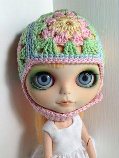Hat Crochet  F L O W E R S   for Blythe dolls