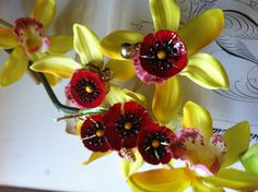Vintage Gold Tone Red Enamel Flower Brooch & by VictorianCreation, $27.99