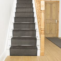 Aztec Grey Stair Carpet Runner - Free delivery on orders over & 30 day return guarantee from Carpet Runners UK. Grey Stair Carpet, Carpet Stairs, Dark Carpet, Modern Carpet, White Carpet, Bedroom Carpet, Living Room Carpet, Narrow Staircase, Staircase Ideas