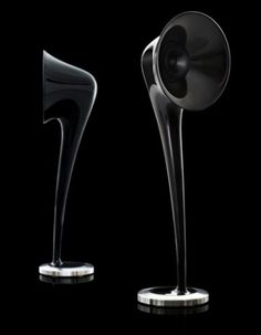Highly exclusive Gramophone speakers: 1.2 metres high, carbon fibre and high gloss black steel loud speakers, designed by Swedish audio company Aesthesis.