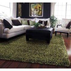 Manhattan Tweed Green/ Brown Shag Rug (5' x 8') - Overstock Shopping - Great Deals on Style Haven 5x8 - 6x9 Rugs