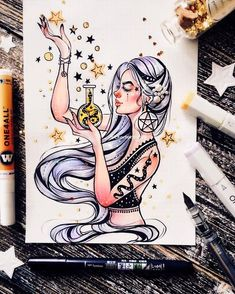 Art Sketches – Trend Art ideas on World Artwork Fantasy, Fantasy Art, Cute Drawings, Drawing Sketches, Amazing Drawings, Desenhos Halloween, Character Art, Character Design, Witch Drawing