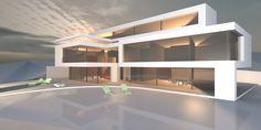 Luxushäuser bauen als Neubau in skulpturaler Architektur.