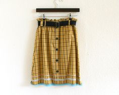 ON SALE  Checked Ashape skirt  yellow and blue  by Bartinki, $42.30